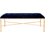 Worlds Away Stella navy velvet upholstered tufted top bench with a brass bamboo detailed base.