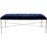 Worlds Away Stella navy velvet upholstered tufted top bench with a nickel bamboo detailed base.