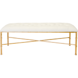 Worlds Away Stella white faux leather upholstered tufted top bench with a brass bamboo detailed base.