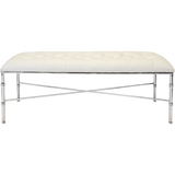 Worlds Away Stella white faux leather upholstered tufted top bench with a nickel bamboo detailed base.