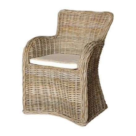 "This chair is made from woven wicker and has a polyester seat cushion. 24""W x 26""D x 35""H"