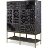Angled Black Limed Ash Tito Tall Cabinet - No Mirror