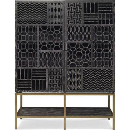 Black Limed Ash Tito Tall Cabinet - No Mirror