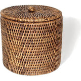 Antique brown woven rattan single toilet paper holder with a lid.