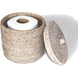 White wash woven rattan single toilet paper holder with a lid.