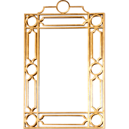 Worlds Away Treillage rectangular mirror with a gold leaf geometric iron frame.