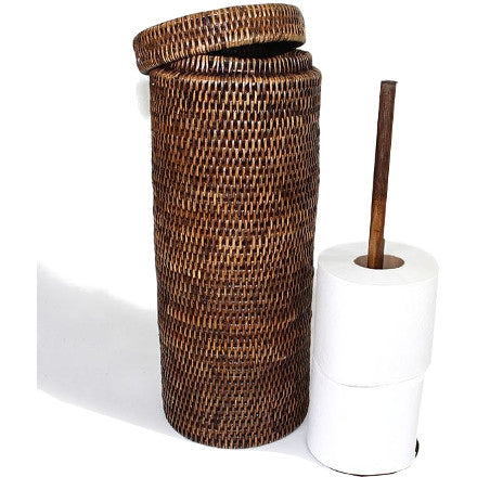 Antique brown round woven rattan triple toilet paper holder with lid.