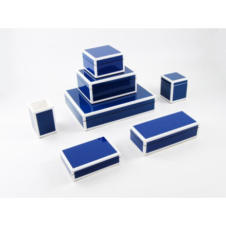 True Blue with White Trim Lacquer Box Collection