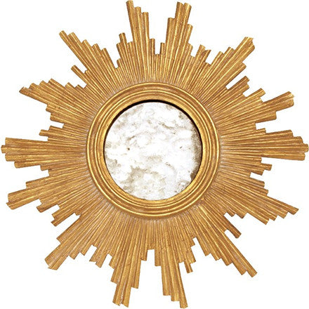 Worlds Away Versailles round antique mirror with a hand carved gold leaf frame.