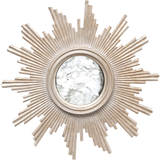 Worlds Away Versailles round antique mirror with a hand carved silver leaf frame.