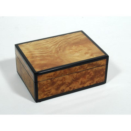 Walnut Burl Inlay with Black Trim Lacquer Box Collection