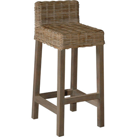 Wicker Bar Stool with Low Back
