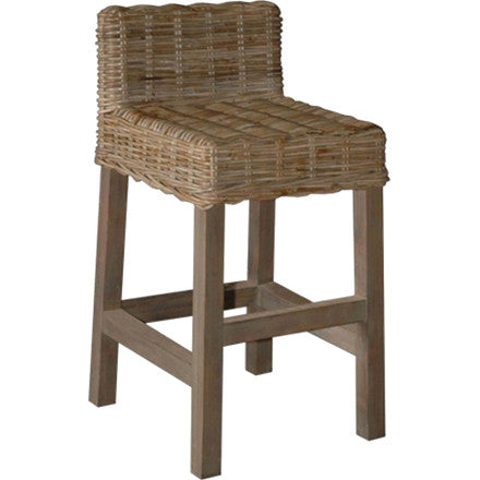 "This counter stool is made from wicker with hardwood legs and a low back. 16½""W x 18""D x 31""H (24""H seat)."