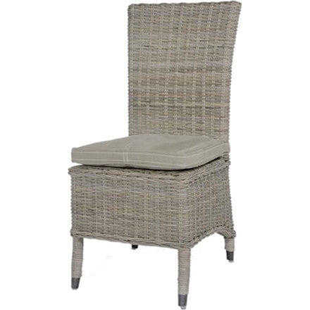 "This chair is made from woven wicker and has a polyester seat cushion. 20""W x 24""D x 42""H."