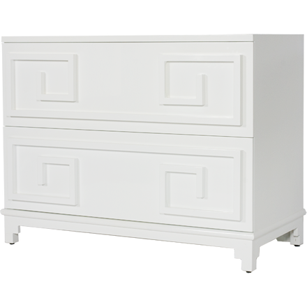 Worlds Away Wrenfield white lacquer two drawer chest with Greek key detailing.