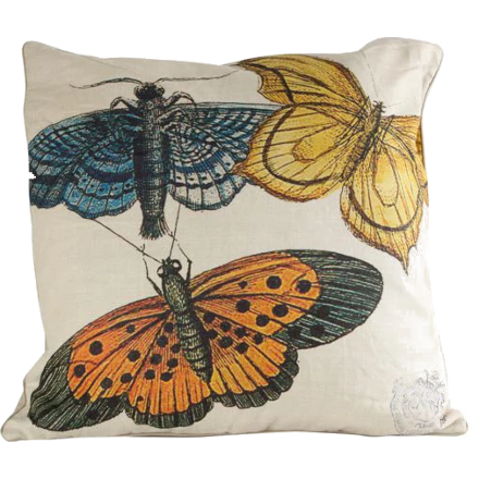 Yellow, Blue and Orange Butterflies Pillow