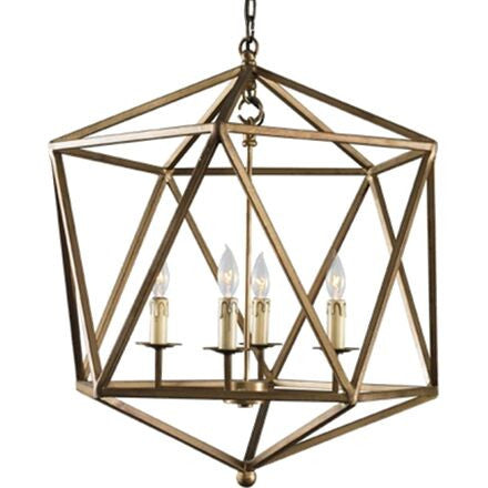 Orion Chandelier - Gold Geometric Chandelier in Dirty Gold