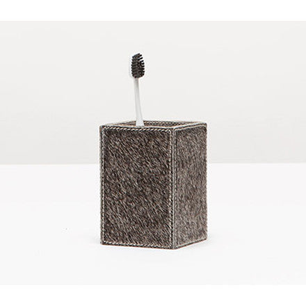 Pigeon & Poodle grey hair-on-hide Umbra brush holder bath accessory.