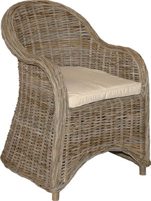 "This chair is made from woven wicker and has a polyester seat cushion. 24""W x 29""D x 32½""H."