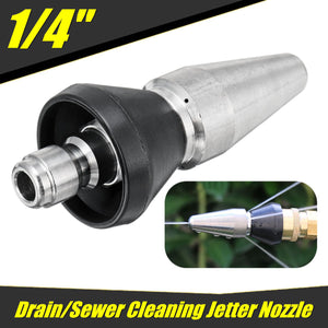 2TRIDENTS Stainless Steel Sewer Jet Nozzle Pressure Washer Nozzle - 1/4'' 1 Front 3 Rear - Various Cleaning Applications