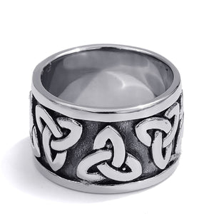 GUNGNEER Stainless Steel Black Celtic Knot Ring Band Jewelry Accessories Men Women
