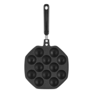 2TRIDENTS Non Stick Pancake Ball Pan Takoyaki Pan with 12 Molds for Grilling Desert Making Baking Takoyaki Sandwiches