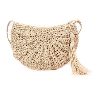 2TRIDENTS Half-Round Handmade Rattan Bag - Crossbody Handbag For Any Occasions Such As Beach, Party, Shopping And Dating (Beige)