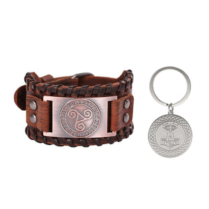 GUNGNEER Vintage Celtic Knot Triskele Leather Bracelet with Thor Hammer Key Chain Jewelry Set