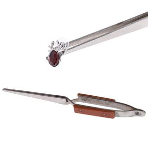 2TRIDENTS 6'' Straight Locking Tweezers - Jewelers Craft Hobby Beading Hand Tool - for use with steam or ultrasonic Cleaners