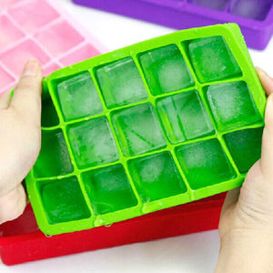2TRIDENTS 3 Pcs Ice Cube Tray BPA Free Set with 15 Cubes Ice Maker for Wine Kitchen Drinking Bar Accessories (Blue)