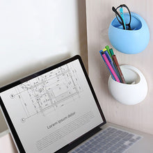 Load image into Gallery viewer, 2TRIDENTS Wall Mounted Egg Shape Toothbrush Holder Cup Bathroom Plastic Toothpaste Dispenser Hook Cup Home Kitchen Storage Organizer (Blue)