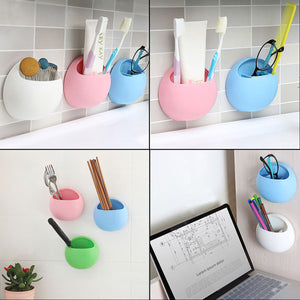 2TRIDENTS Wall Mounted Egg Shape Toothbrush Holder Cup Bathroom Plastic Toothpaste Dispenser Hook Cup Home Kitchen Storage Organizer (Blue)