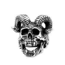 Load image into Gallery viewer, GUNGNEER Stainless Steel Goat Head Big Skull Satan Ring Goat Necklace Jewelry Set
