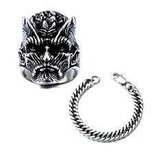 Load image into Gallery viewer, GUNGNEER Satanic Sigil Of Satan Ring Stainless Steel Chain Bracelet Jewelry Set
