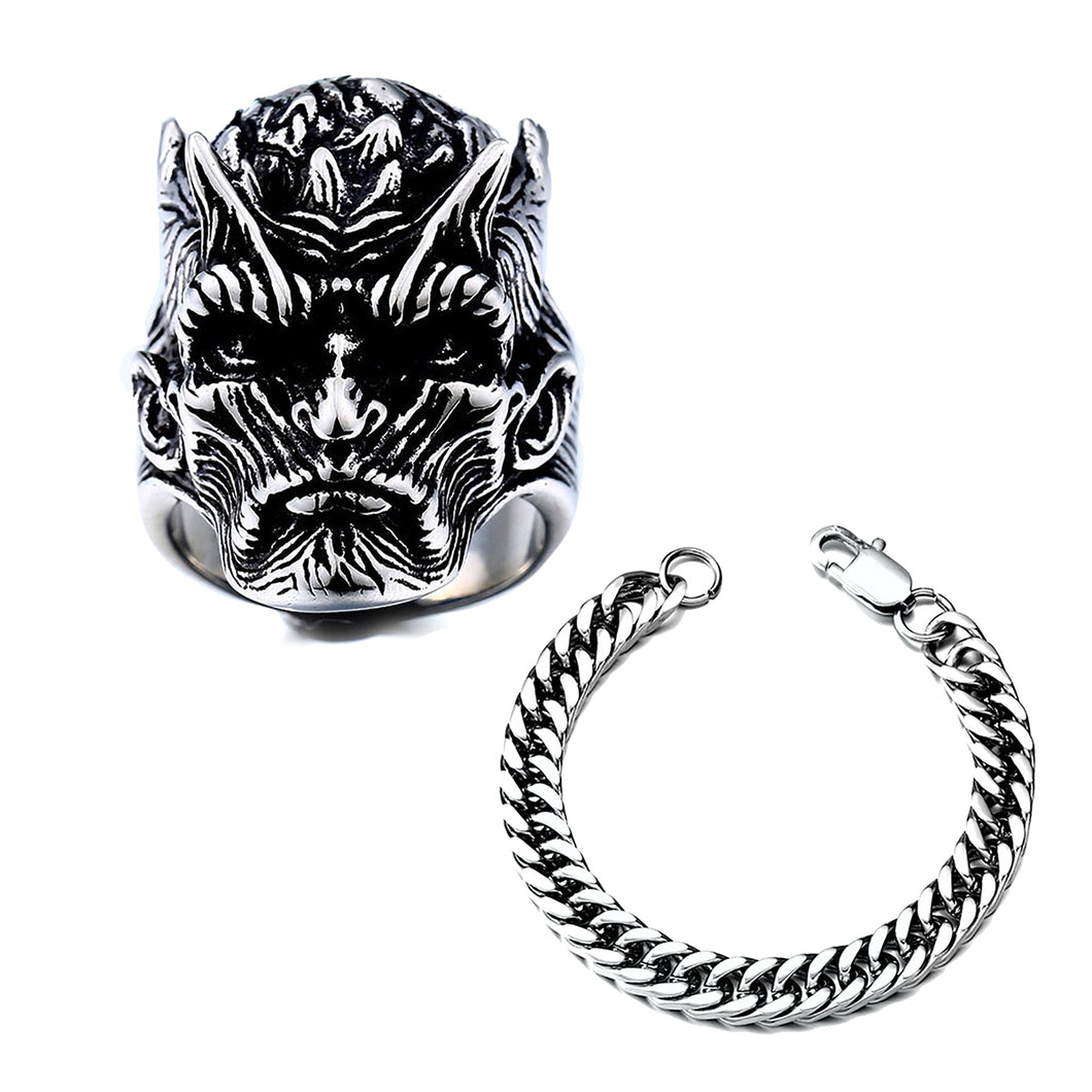 GUNGNEER Satanic Sigil Of Satan Ring Stainless Steel Chain Bracelet Jewelry Set