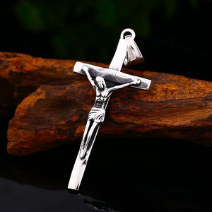 GUNGNEER God Stainless Steel Christ Cross Pendant Necklace Jesus Gift Jewelry For Men