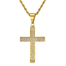 Load image into Gallery viewer, GUNGNEER Stainless Steel God Cross Pendant Necklace Jesus Jewelry Outfit For Men Women