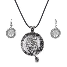 Load image into Gallery viewer, GUNGNEER Irish Celtic Viking Raven Pendant Necklace Tree of Life Earrings Jewelry Set Men Women