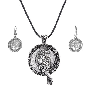 GUNGNEER Irish Celtic Viking Raven Pendant Necklace Tree of Life Earrings Jewelry Set Men Women
