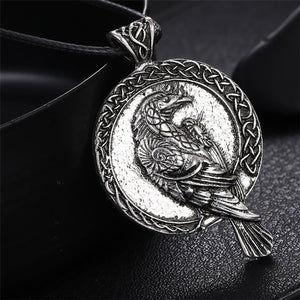 GUNGNEER Irish Celtic Norse Talisman Viking Crow Raven Pendant Necklace Jewelry for Men Women