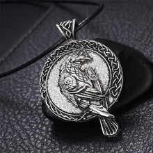 Load image into Gallery viewer, GUNGNEER Irish Celtic Norse Talisman Viking Crow Raven Pendant Necklace Jewelry for Men Women