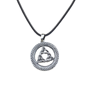 GUNGNEER 2 Pcs Celtic Triquetra Knot Viking Axe Pendant Necklace Leather Cord Chain Jewelry Set
