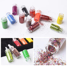 Load image into Gallery viewer, 2TRIDENTS Set of 48 Bottles Sequins Powder Glitter Powder Nail Art for DIY Art Decoration Festival Face Eye Nail Make Up Accessories