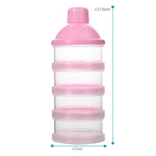 Load image into Gallery viewer, 2TRIDENTS Milk Powder Bottle - Four-Grid Formula Dispenser - Non-Spill Smart Stackable Baby Feeding Travel Storage Container (Pink)