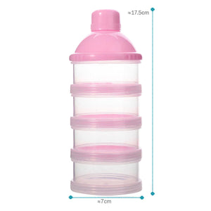 2TRIDENTS Milk Powder Bottle - Four-Grid Formula Dispenser - Non-Spill Smart Stackable Baby Feeding Travel Storage Container (Pink)