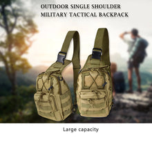Load image into Gallery viewer, 2TRIDENTS 600D Oxford Cloth Military Shoulder Bag - Backpack Military Sport Bag for Trekking, Camping, Hiking - Rover Sling Daypack for Men Women (Black)