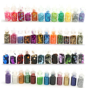 2TRIDENTS Set of 48 Bottles Sequins Powder Glitter Powder Nail Art for DIY Art Decoration Festival Face Eye Nail Make Up Accessories