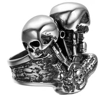 Load image into Gallery viewer, GUNGNEER 2 Pcs Stainless Steel Biker Skeleton Skull Ring Gothic Protection Jewelry Set Men