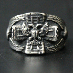GUNGNEER Cross Masonic Eagle Ring Multi-size Freemasonry Accessory Jewelry For Men