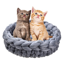 Load image into Gallery viewer, 2TRIDENTS Hand-Knitted Pet Warming Nest - Cozy and Comfortable - The Best House for Your Cat, Dog and Pet (1, Gray)